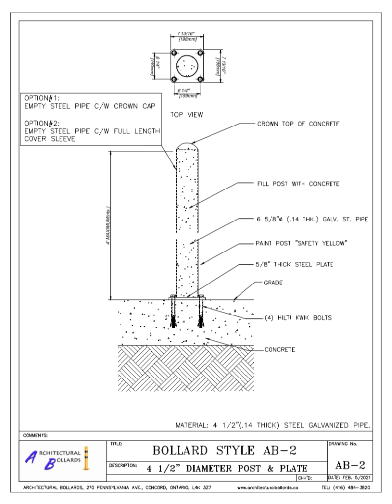 architectural safety bollards toronto
